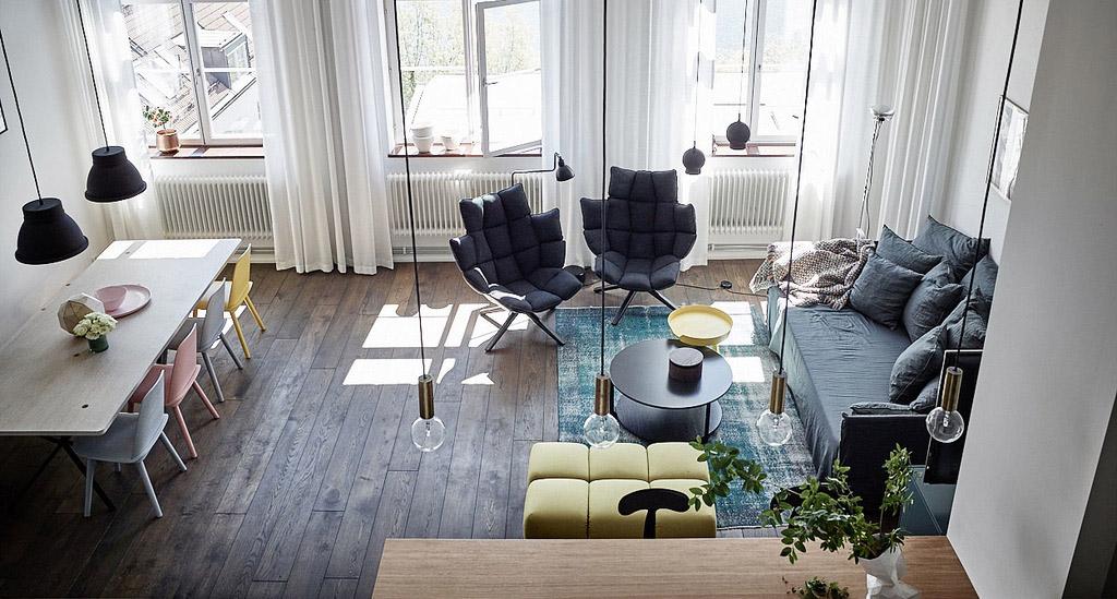 Soffitti Alti 4 Metri : Loft moderno scandinavo dai colori pastello e vivaci arc art blog
