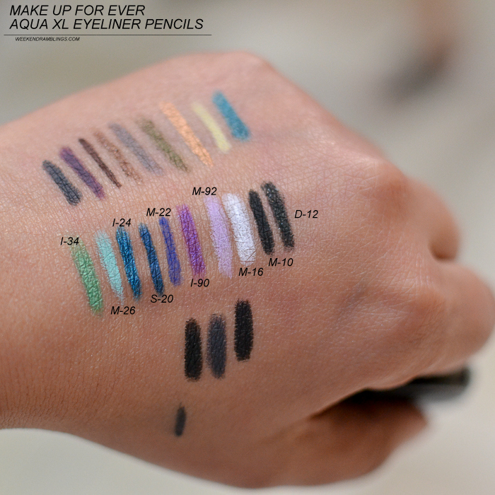 Make Up For Ever AquaXL Waterproof Eyeliner Pencils - Swatches - I34 M26 I24 S20 M22 I90 M16 M10 D12