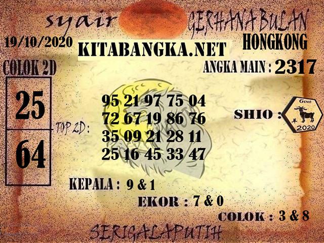 Kode syair Hongkong senin 19 oktober 2020 191