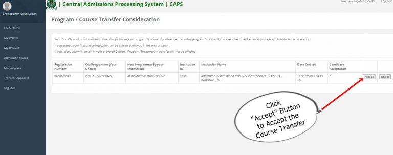 JAMB CAPS: Accept / Reject & Monitor Admission Offer 2019 [Photos]