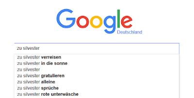 """Goggle-Vorschläge zur Suchphrase """"zu silvester""""."""