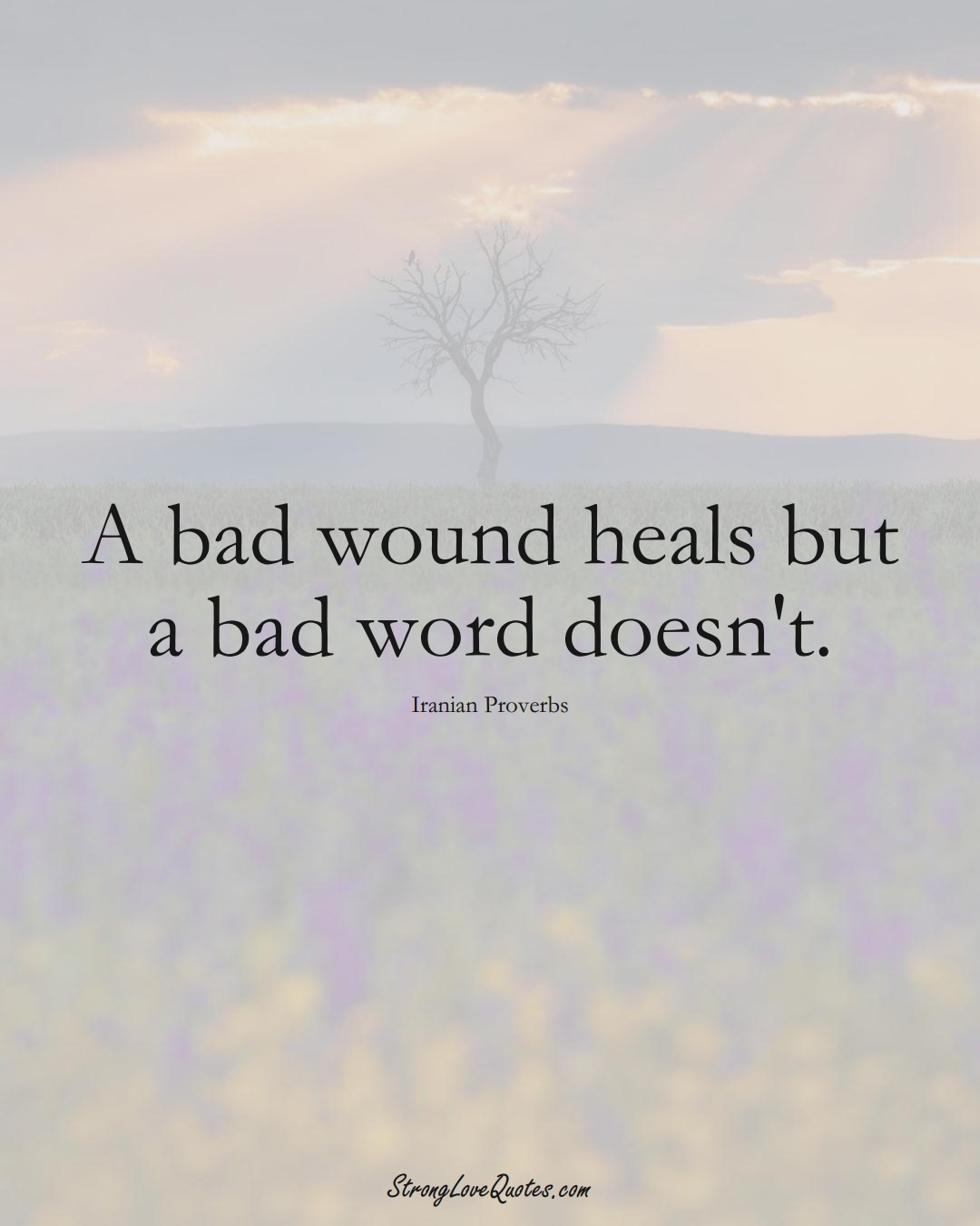 A bad wound heals but a bad word doesn't. (Iranian Sayings);  #MiddleEasternSayings