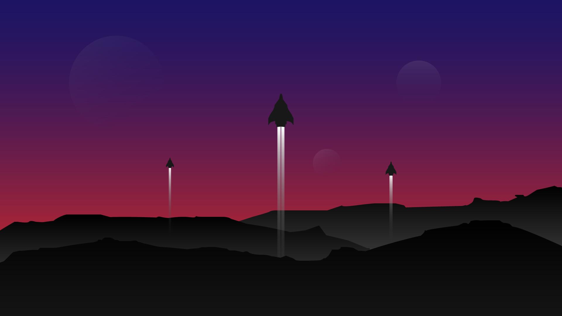 spaceship space launching futuristic minimalistic pc laptop macbook and chromebook wallpaper 4k