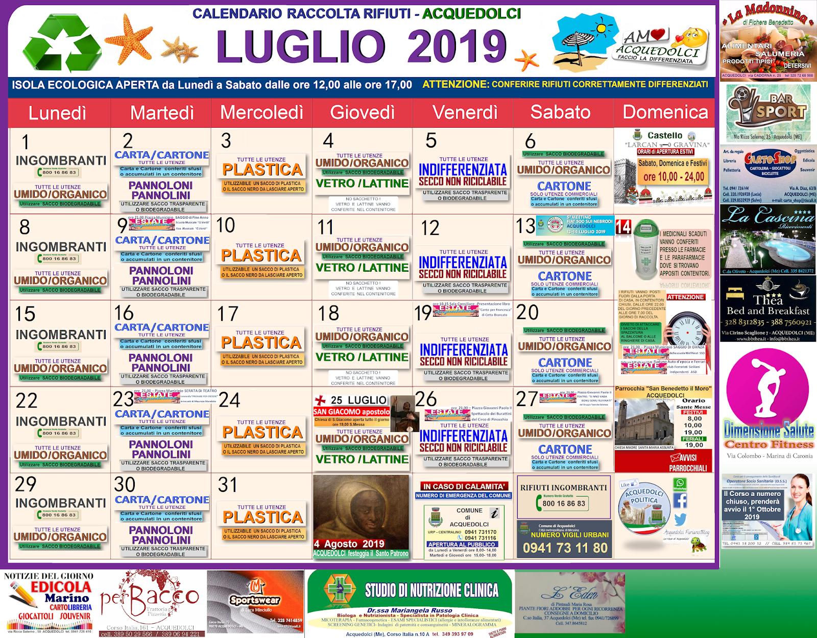 Calendario Raccolta Differenziata Sanremo.Rifiuti Calendario Della Raccolta Del Mese Di Luglio 2019