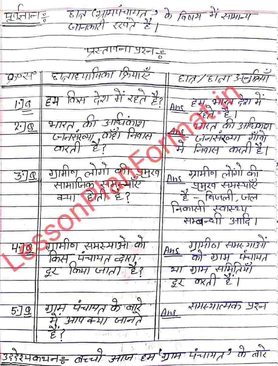 Civics Lesson Plan on Gram Panchayat