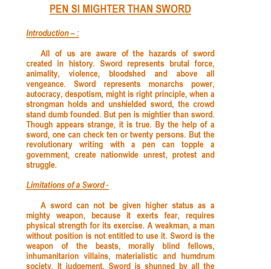 The Pen is mightier than the Sword - Your Home Teacher