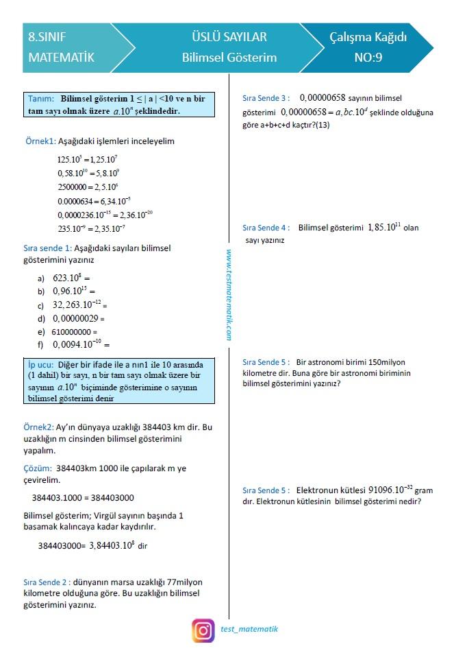 Uslu Sayilar Calisma Kagidi 5 Test Matematik