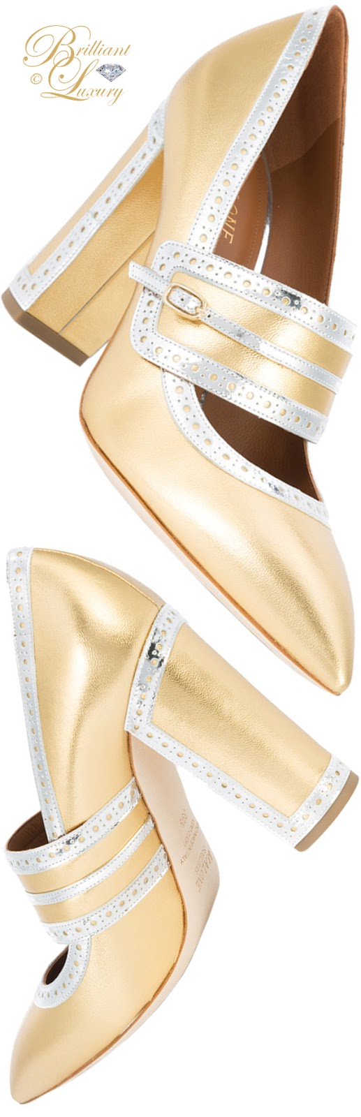 Brilliant Luxury ♦ Malone Souliers gold-coloured block heel pumps