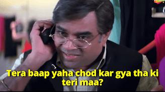 Tera baap yaha chod kar gya tha ki teri maa?, Paresh Rawal as Ghungroo seth | best welcome movie meme templates & dialogue