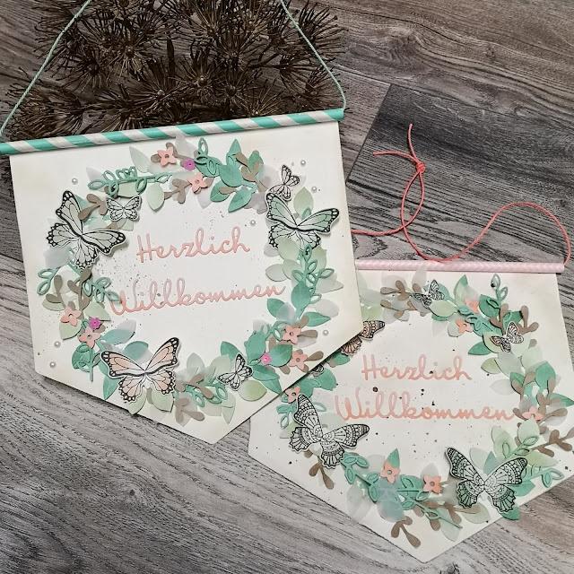 Zauberhafter Türschmuck - frühlingshaft pastellige Papierkreation von Elfenkunst.