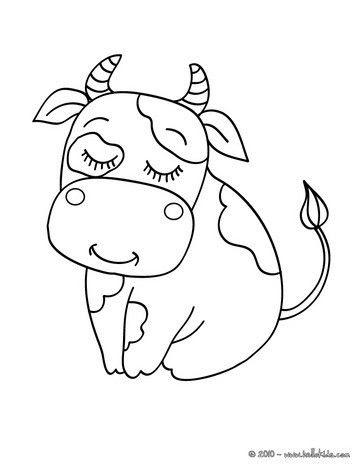 Hình tô màu con bò cho bé