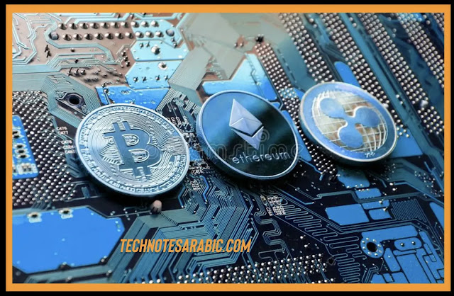 Bitcoin and Ethereum medals on metal motherboard