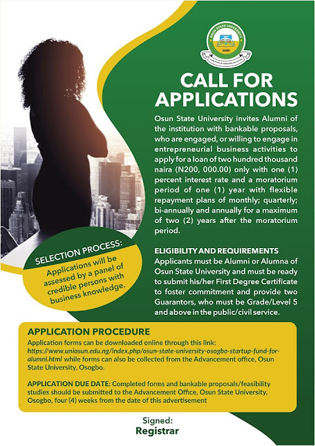 UNIOSUN Startup Loan Application 2020 | Access Up to N200,000 Funds