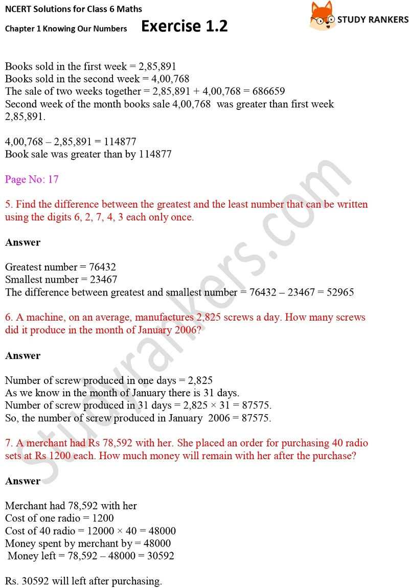 NCERT Solutions for Class 6 Maths Chapter 1 Knowing Our Numbers Exercise 1.2 Part 2