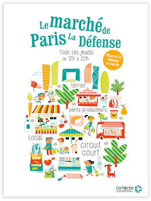 Clod illustration affiche le marché de Paris La Défense