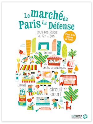 Clod illustration affiche le marché de Paris La Défense
