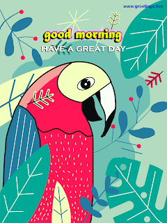 good morning greetings  on birds  illustration