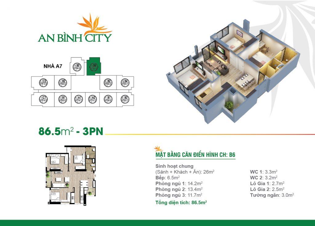 Căn hộ diện tích 86,5 m2 tại chung cư An Bình City