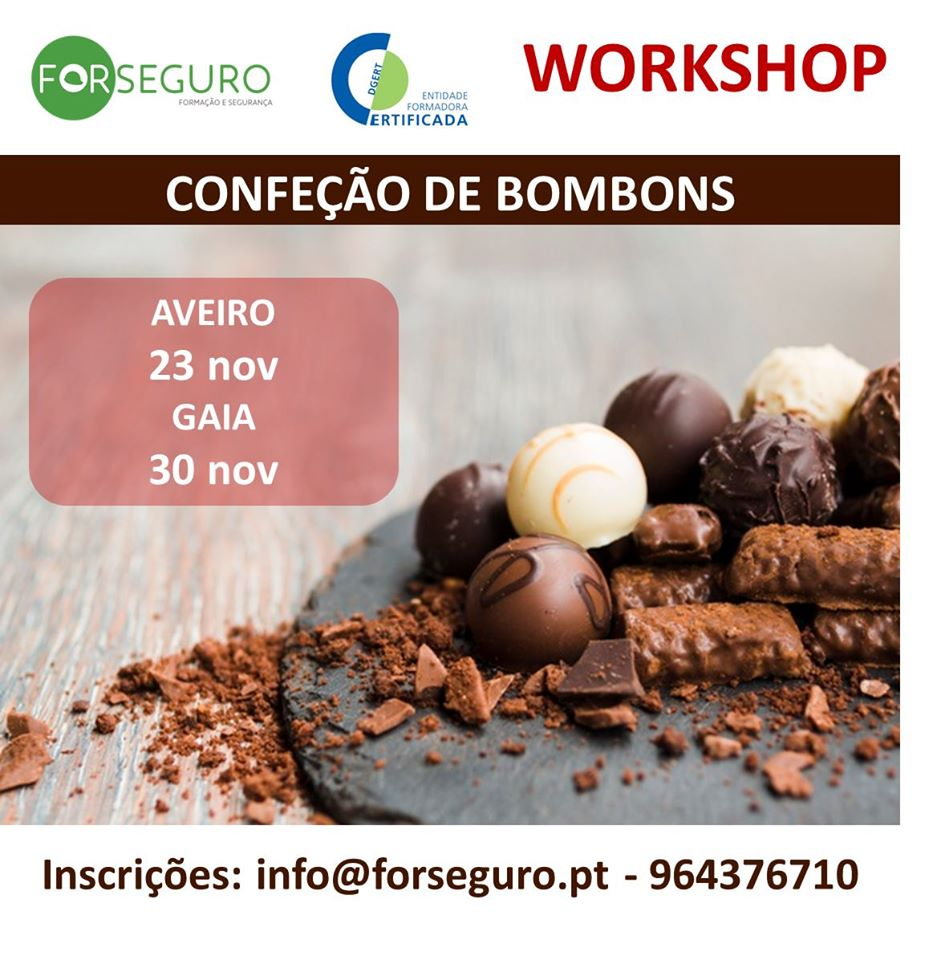 Workshop de confeção de bombons de chocolate – Gaia e Aveiro