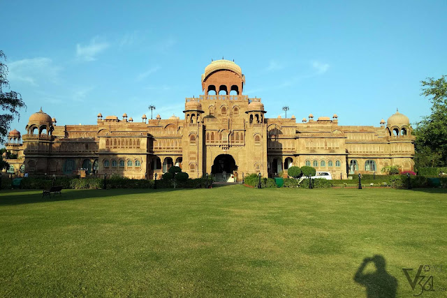 The main facade of the Laxmi Niwas Palace