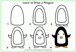 Cara Mudah Menggambar Penguin Untuk Anak-Anak  2