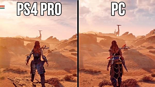 شاهد بالفيديو مقارنة الرسومات للعبة Horizon Zero Dawn بين نسخة جهاز PS4 و PC