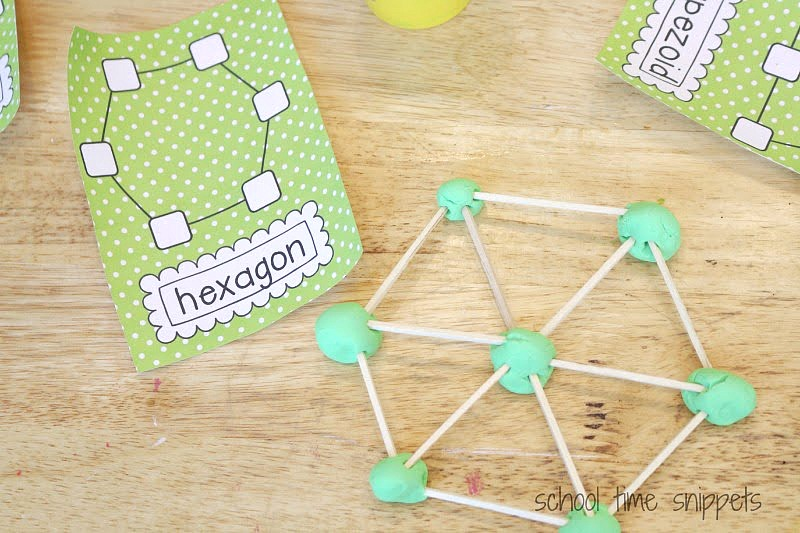 hands-on shapes activity with playdough