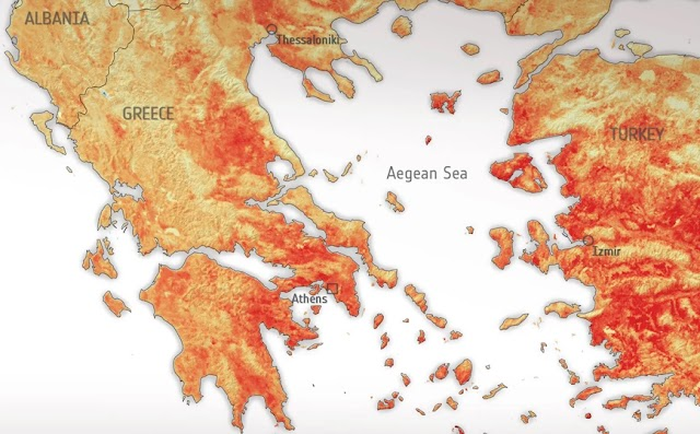 Καιρός: Στους 50 βαθμούς η θερμοκρασία στο έδαφος της Ελλάδας στις 30 Ιουνίου