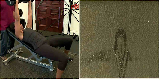 Say What!.....Wet lady leaves vajeyjey print on work out bench,.....