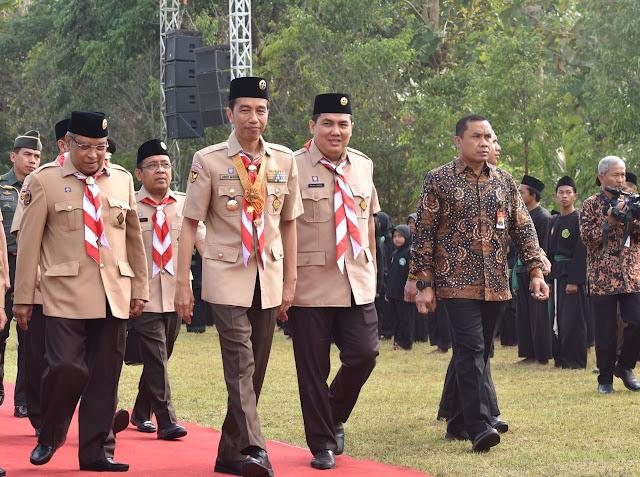 Presiden Jokowi Buka Perkemahan Wirakarya Pramuka Ma'arif NU Nasional II di Magelang