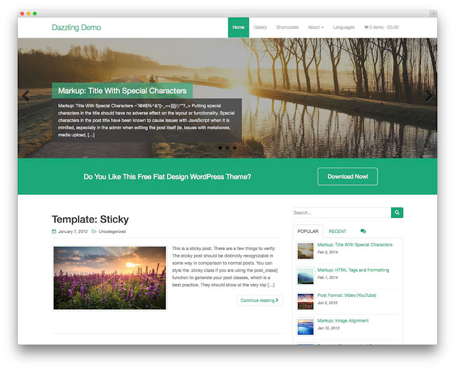 Dazzling wordpress theme