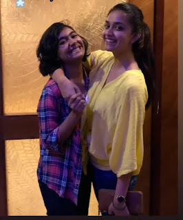 Keerthy Suresh in Yellow Dress with Cute and Awesome Smile with her Lovely Sister 1