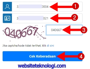 Masukkan NIK, nomor KK, kode captcha, dan klik Cek Keberadaan