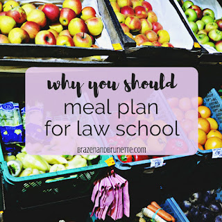 Want to save money in law school? Meal planning (which isn't meal prepping) saves you time, saves you money, and saves you calories! Here's how to save money with meal prepping and why you should meal prep in law school. law school advice. law student blogger | brazenandbrunette.com