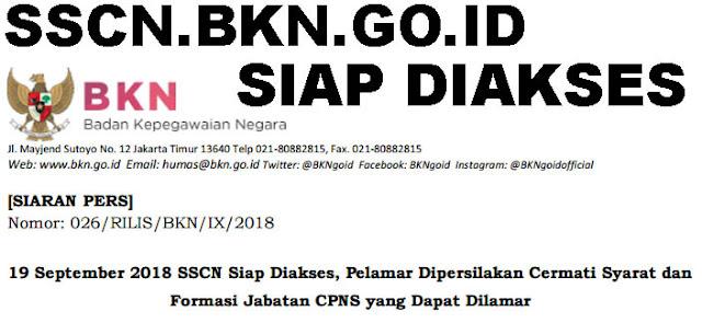 19 September 2018 SSCN Siap Diakses, Pelamar Dipersilakan Cermati Syarat dan Formasi Jabatan CPNS yang Dapat Dilamar