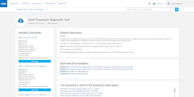 Giao diện tải xuống Intel Processor Diagnostic Tool - công cụ kiểm tra tình trạng của CPU