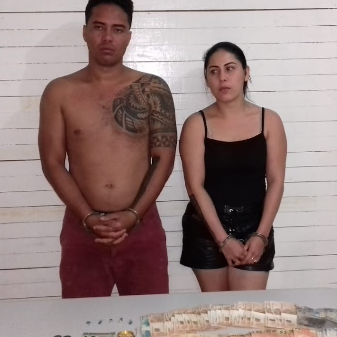 Casal é preso em flagrante por comercialização de entorpecentes na comunidade de Jardim do Ouro.