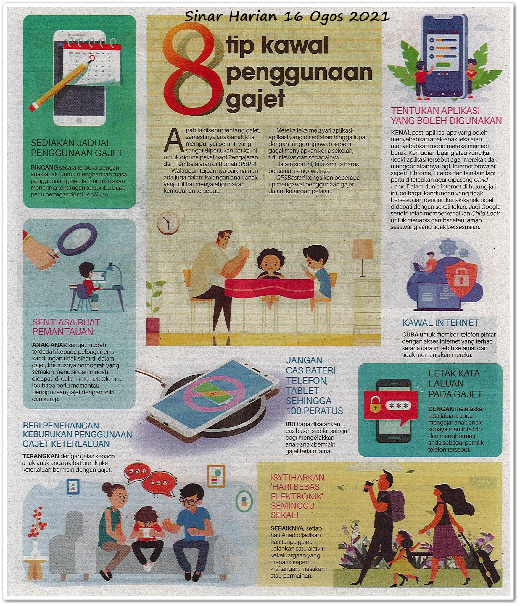 8 tip kawal penggunaan gajet - Keratan akhbar Sinar Harian 16 Ogos 2021