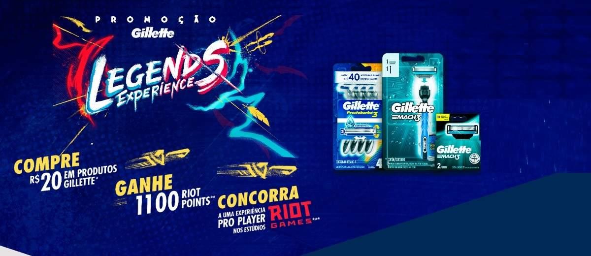 Promoção Gillette 2020 Legends Experience Compre Ganhe 1.100 Riot Points LoL