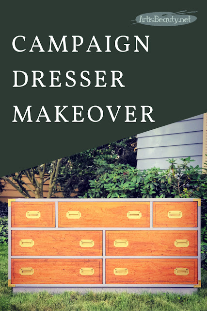 classic campaign dresser makeover using general finishes driftwood gray milk paint
