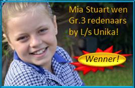 Mia Stuart WEN Gr.3 redenaars by L/s Unika met die mooi aanbieding van haar toesprakie onder die ATKV se 2014 tema POEDING!