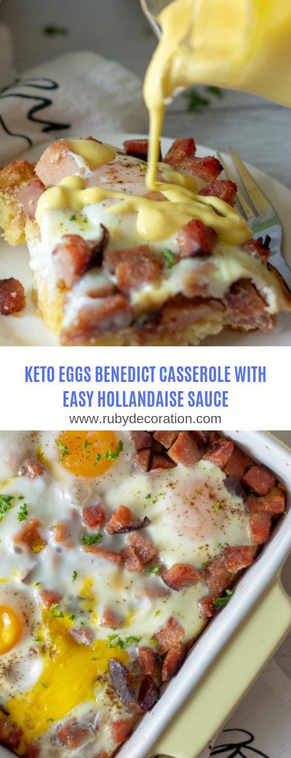 KETO EGGS BENEDICT CASSEROLE WITH EASY HOLLANDAISE SAUCE