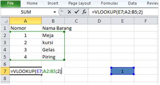 Menggunakan fungsi Vlookup