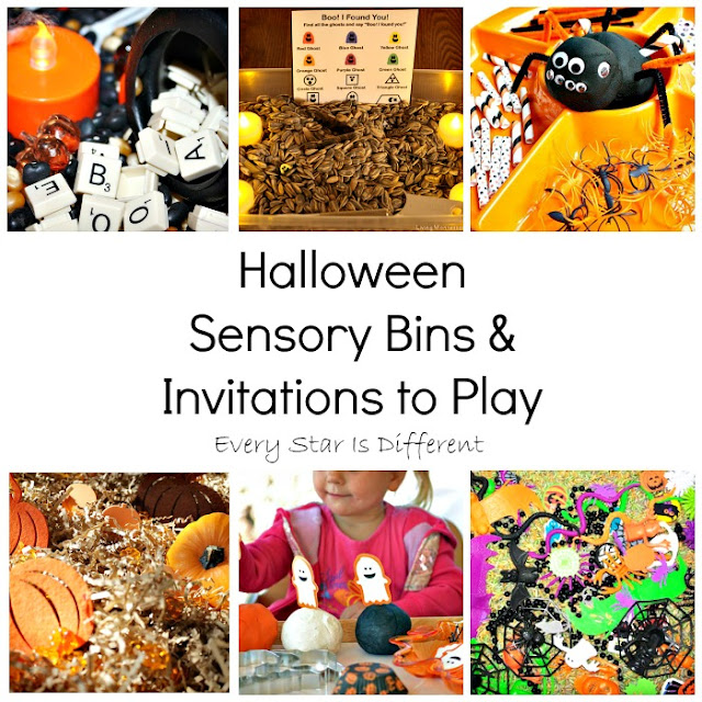 Halloween sensory bins and invitations to play
