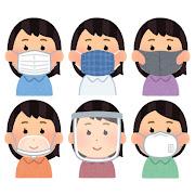 いろいろな種類のマスクをつけた人のイラスト(女性)