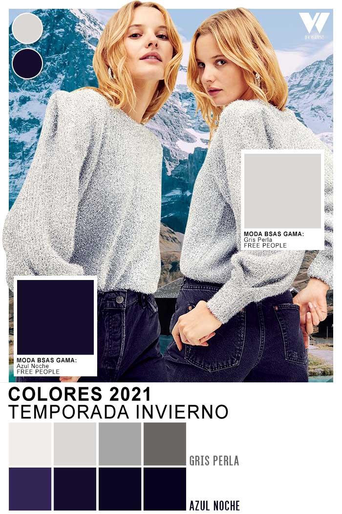 Azul noche y gris perla moda colores de temporada invierno 2021