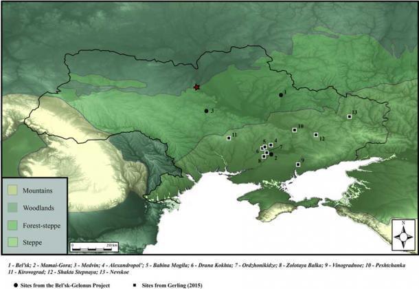 In questa mappa dell'Ucraina e dei suoi dintorni, sono stati segnati i resti scoperti e in analisi.