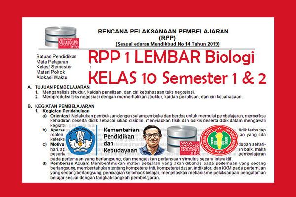 RPP 1 Lembar Biologi Kelas 10 MA Semester 1 dan 2