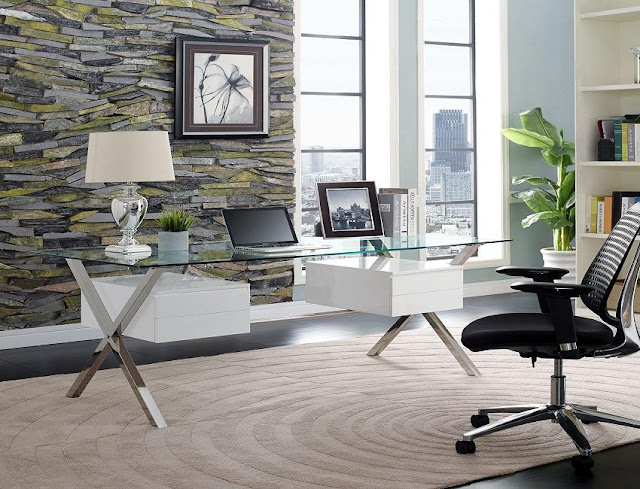 best buying modern home office with glass desk for sale