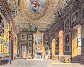 Queen Caroline's Drawing Room, Kensington Palace, from The History  of the Royal Residences by WH Pyne (1819) The Queen's Bedchamber, Kensington Palace, from The History of the Royal Residences by WH Pyne (1819)